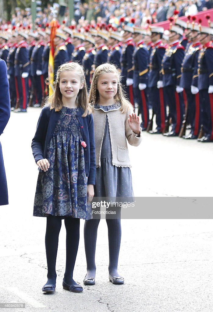 Princess Sofia of Spain and Princess Leonor of Spain attend the National Day Military Parade 2015 on October 12 2015 in Madrid Spain
