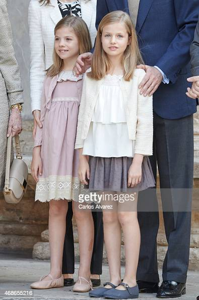 Princess Sofia of Spain and Princess Leonor of Spain attend the Easter Mass at the Cathedral of Palma de Mallorca on April 5 2015 in Palma de...
