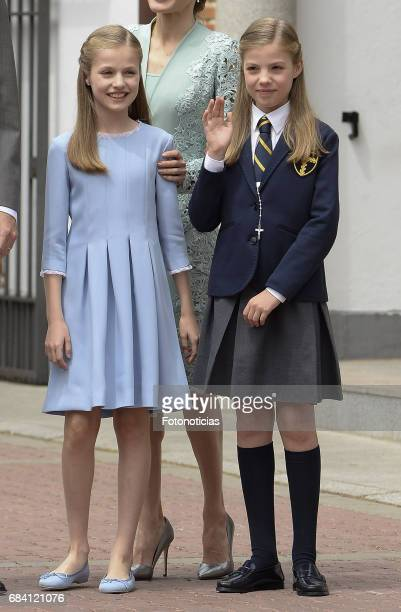 Princess Sofia of Spain and Princess Leonor of Spain pose for photographers after the First Communion of Princess Sofia of Spain at the Asuncion de...