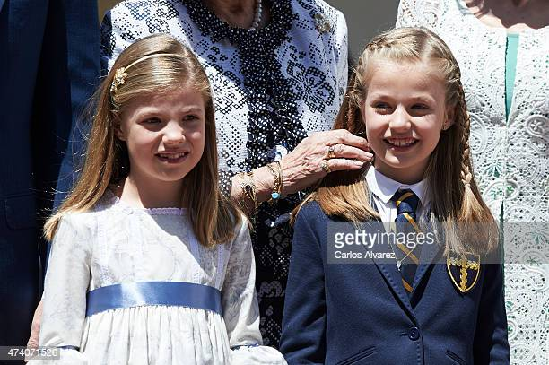 Princess Sofia of Spain and Princess Leonor of Spain pose for the photographers after the First Communion of Princess Leonor of Spain at the Asuncion...