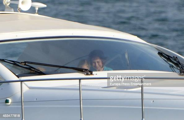 Princess Sofia of Spain and Queen Sofia are seen on August 10 2014 in Palma de Mallorca Spain
