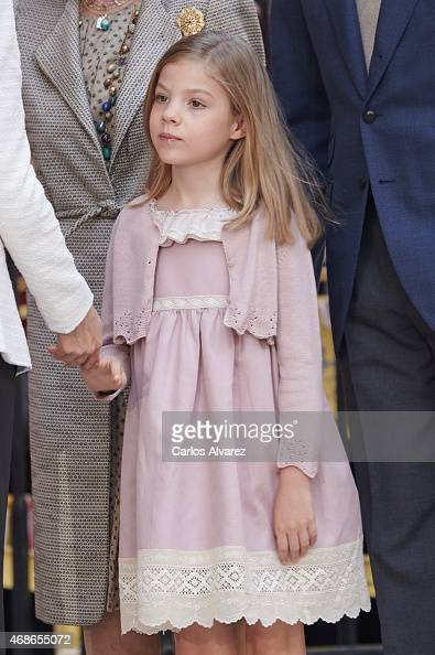 Princess Sofia of Spain attends the Easter Mass at the Cathedral of Palma de Mallorca on April 5 2015 in Palma de Mallorca Spain
