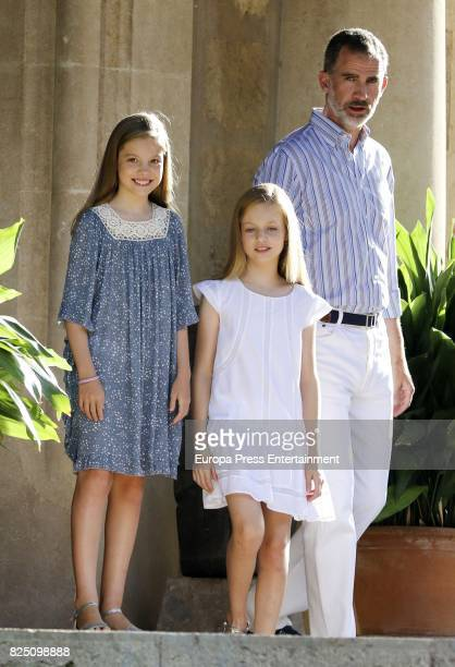 Princess Sofia of Spain Princess Leonor of Spain and King Felipe VI of Spain pose for the photographers during the summer photocall at the Marivent...