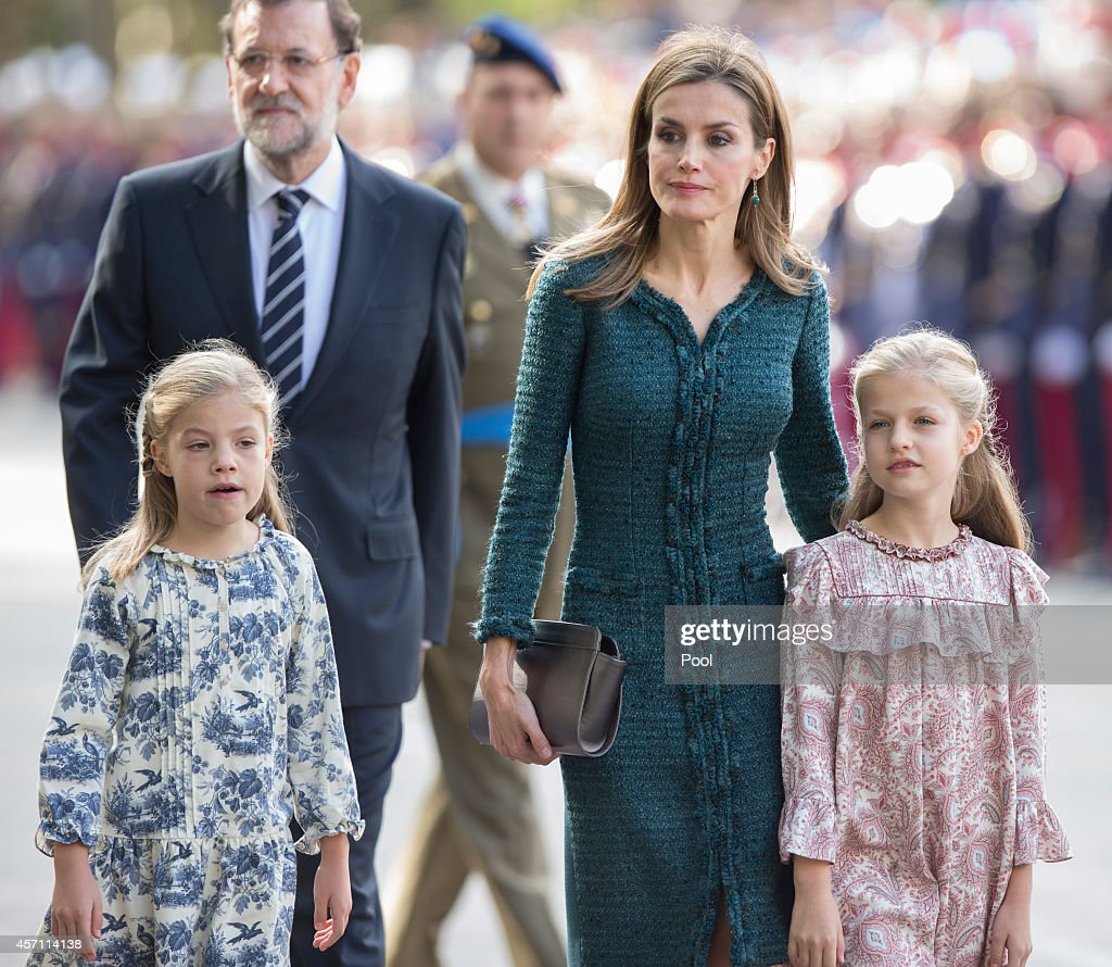 Princess Sofia of Spain Queen Letizia of Spain and Princess Leonor of Spain attend the Spanish National Day military parade at Canovas del Castillo...