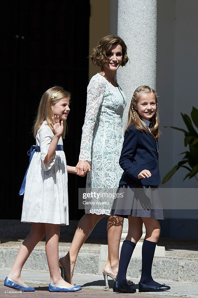 Princess Sofia of Spain, Queen Letizia of Spain and Princess Leonor of Spain arrive at the Asuncion de Nuestra Senora Church for the First Communion of the Princess Leonor of Spain on May 20, 2015 in Aravaca, near of Madrid, Spain.