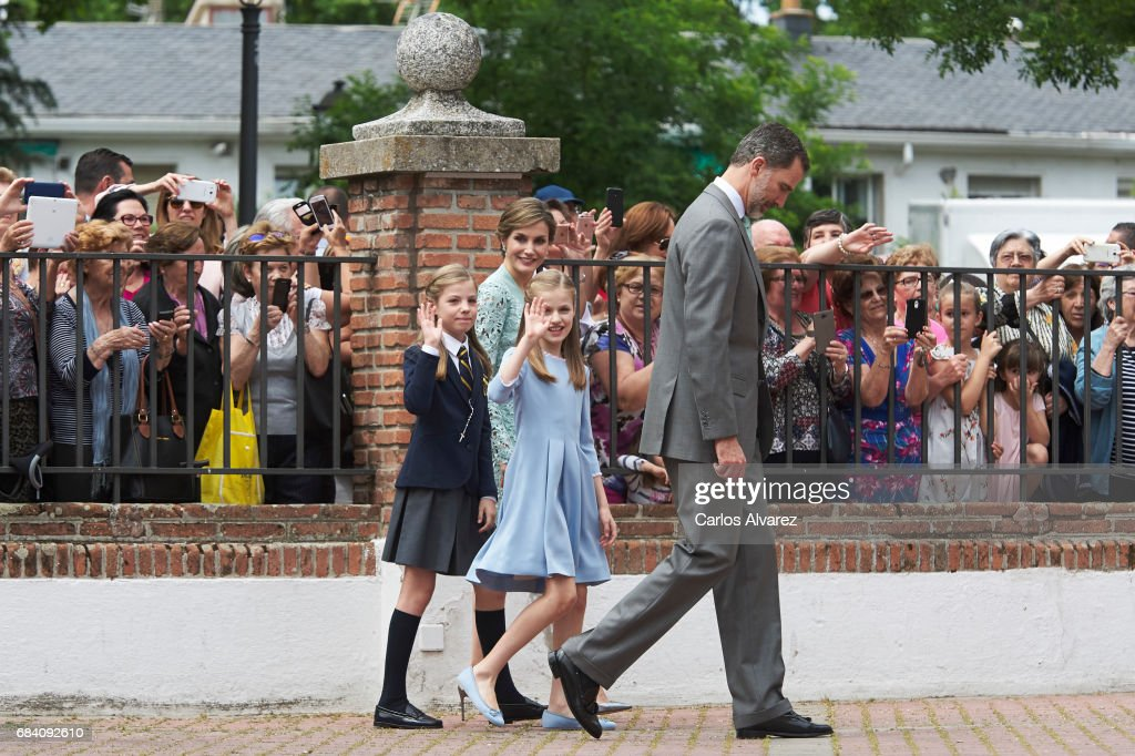 Princess Sofia of Spain, Queen Letizia of Spain, Princess Leonor of Spain and King Felipe VI of Spain leaves after the First Communion of Princess Sofia of Spain at the Asuncion de Nuestra Senora Church on May 17, 2017 in Madrid, Spain.