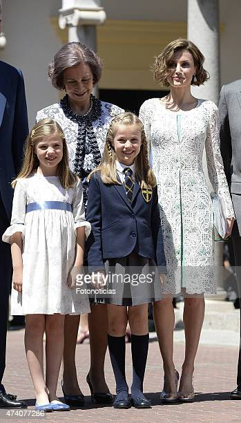 Princess Sofia of Spain Queen Sofia Princess Leonor of Spain and Queen Letizia of Spain pose for the photographers after the First Communion of...