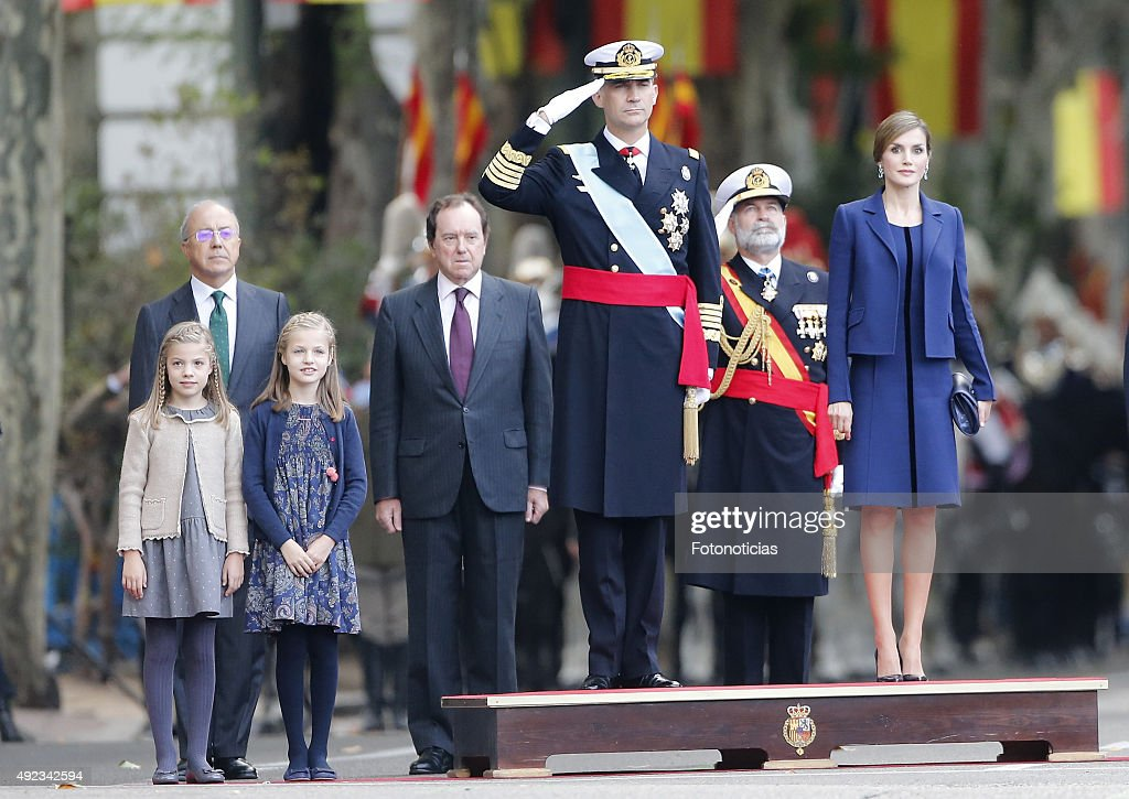 Princess Sofia of Spain,Princess Leonor of Spain, King Felipe VI of Spain and Queen Letizia of Spain attend the National Day Military Parade 2015 on October 12, 2015 in Madrid, Spain.