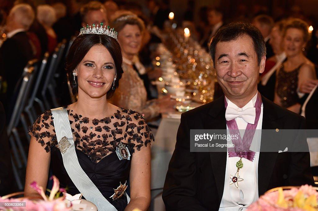 Princess Sofia of Sweden and Nobel Prize in Physics, Professor Takaaki Kajita attend the Nobel Prize Banquet 2015 at City Hall on December 10, 2015 in Stockholm, Sweden.