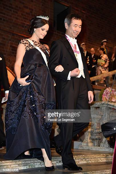 Princess Sofia of Sweden and Nobel Prize in Physics Professor Takaaki Kajita arrive at the Nobel Prize Banquet 2015 at City Hall on December 10 2015...