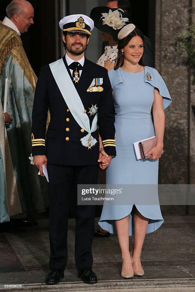 Princess Sofia of Sweden and Prince Carl Philip of Sweden are seen at The Royal Palace for the Christening of Prince Oscar of Sweden on May 27, 2016 in Stockholm, Sweden.