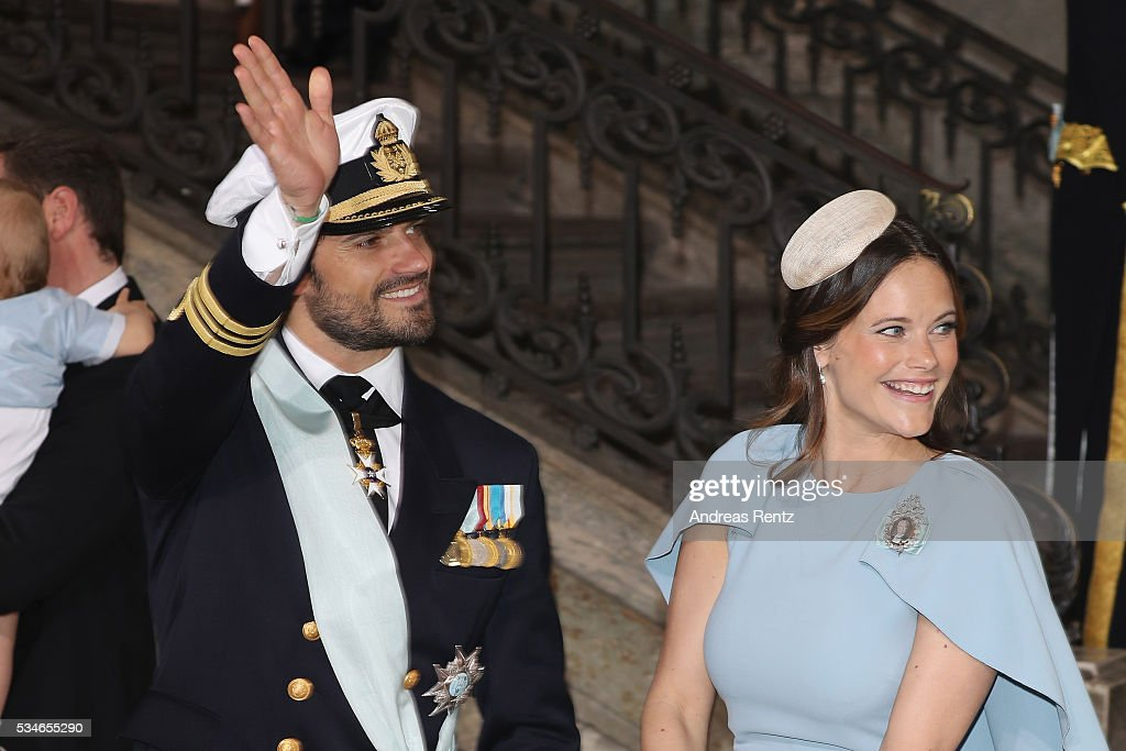 Princess Sofia of Sweden and Prince Carl Philip of Sweden are seen after the christening of Prince Oscar of Sweden at Royal Palace of Stockholm on May 27, 2016 in Stockholm, Sweden.