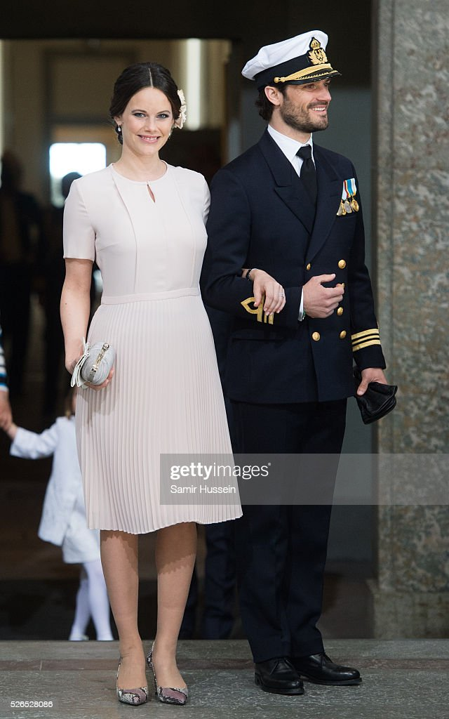 Princess Sofia of Sweden and Prince Carl Philip of Sweden arrive at the Royal Palace to attend Te Deum Thanksgiving Service to celebrate the 70th birthday of King Carl Gustaf of Sweden on April 30, 2016 in Stockholm, Sweden.