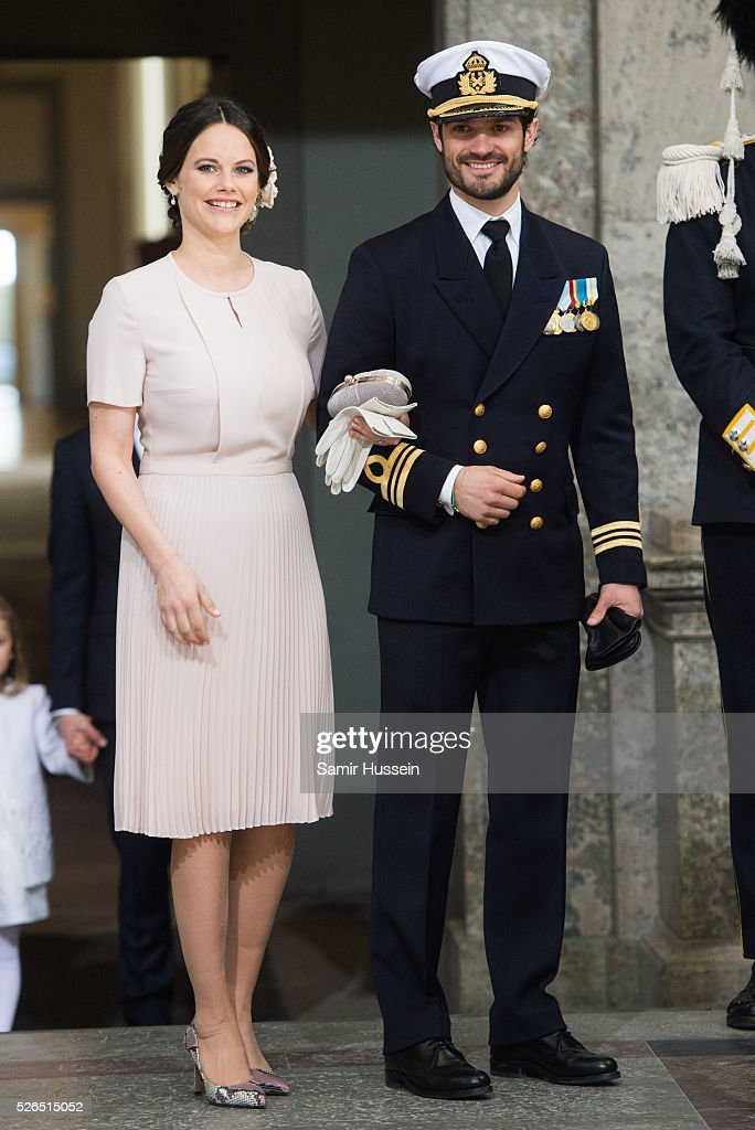 Princess Sofia of Sweden and Prince Carl Philip of Sweden arrives at the Royal Palace to attend Te Deum Thanksgiving Service to celebrate the 70th birthday of King Carl Gustaf of Sweden on April 30, 2016 in Stockholm, Sweden.