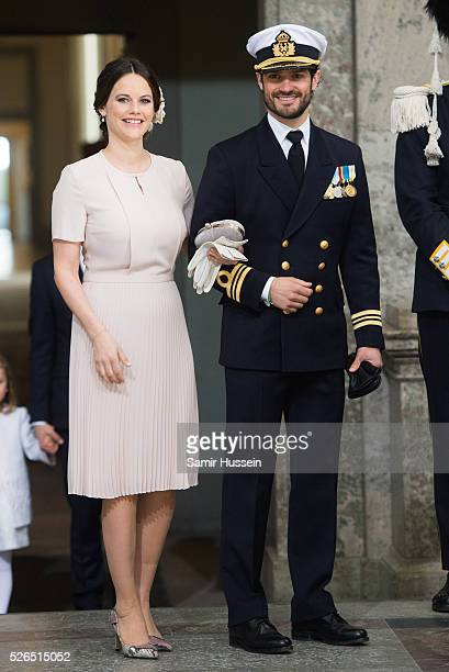 Princess Sofia of Sweden and Prince Carl Philip of Sweden arrives at the Royal Palace to attend Te Deum Thanksgiving Service to celebrate the 70th...