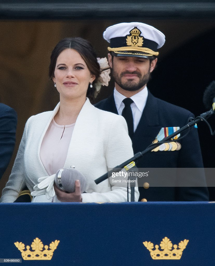 Princess Sofia of Sweden and Prince Carl Philip of Sweden attend the choral tribute and cortege during the celebrations of the 70th birthday of King Carl Gustaf of Sweden on April 30, 2016 in Stockholm, Sweden.