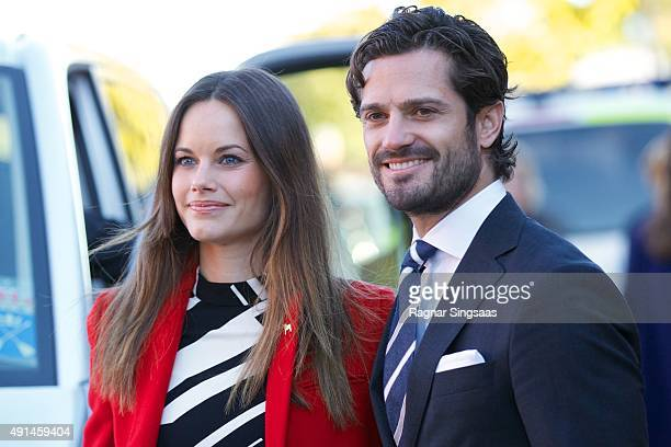 Princess Sofia of Sweden and Prince Carl Philip of Sweden visit a consultant unit for refugees during the first day of their trip to Dalarna on...