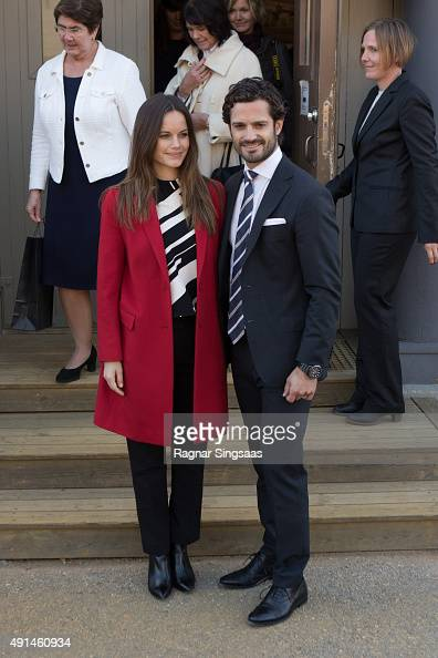 Princess Sofia of Sweden and Prince Carl Philip of Sweden visit the Falun Mine world heritage site during the first day of their trip to Dalarna on...