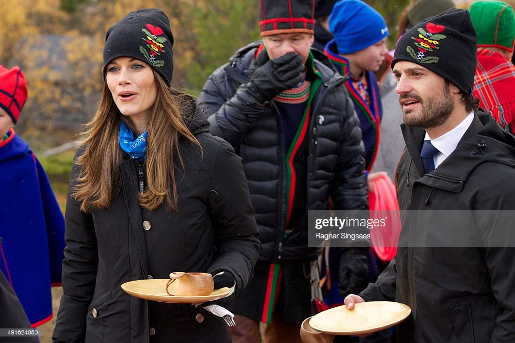 Princess Sofia of Sweden and Prince Carl Philip of Sweden visit the Idre Sami Village during the second day of their trip to Dalarna on October 6, 2015 in Grovelsjoen, Sweden.