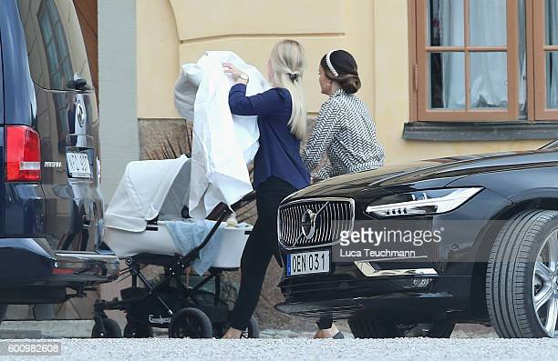 Princess Sofia of Sweden and son Prince Alexander of Sweden arrive ahead of the christening of Prince Alexander of Sweden at Drottningholm Palace...