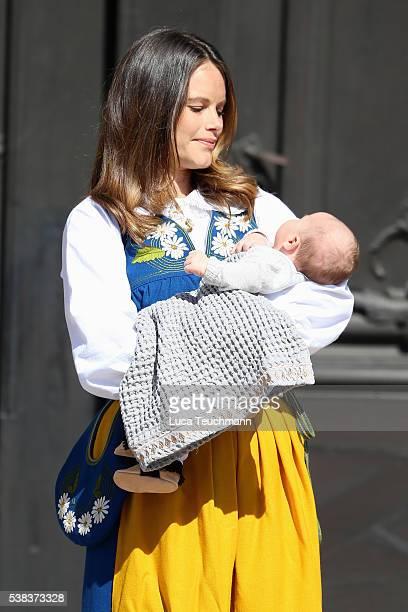 Princess Sofia of Sweden and son Prince Alexander of Sweden attend the National Day Celebrations on June 6 2016 in Stockholm Sweden