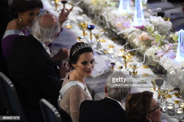 Princess Sofia of Sweden attends the 2017 Nobel Banquet for the laureates in medicine chemistry physics literature and economics in Stockholm on...