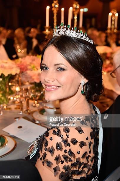 Princess Sofia of Sweden attends the Nobel Prize Banquet 2015 at City Hall on December 10 2015 in Stockholm Sweden