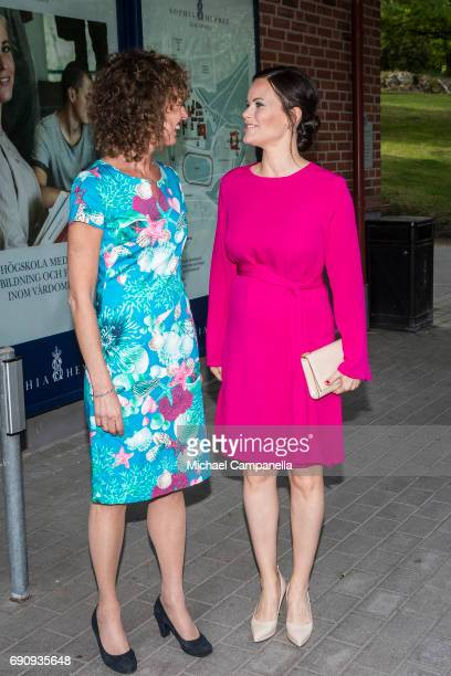 Princess Sofia of Sweden is greeted by Johanna Adami director of the Sophiahemmet college while attending a merit ceremony at Sophiahemmet College on...