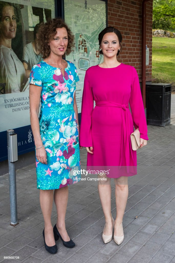 Princess Sofia of Sweden (R) is greeted by Johanna Adami, director of the Sophiahemmet college while attending a merit ceremony at Sophiahemmet College on May 31, 2017 in Stockholm, Sweden.