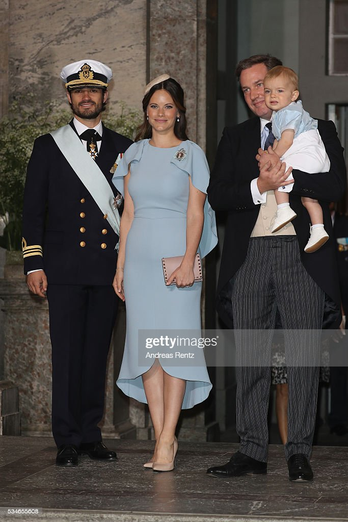 Princess Sofia of Sweden, Prince Carl Philip of Sweden and <a gi-track='captionPersonalityLinkClicked' href=/galleries/search?phrase=Christopher+O%27Neill&family=editorial&specificpeople=7470611 ng-click='$event.stopPropagation()'>Christopher O'Neill</a> with his son Prince Nicolas of Sweden are seen after the christening of Prince Oscar of Sweden at Royal Palace of Stockholm on May 27, 2016 in Stockholm, Sweden.