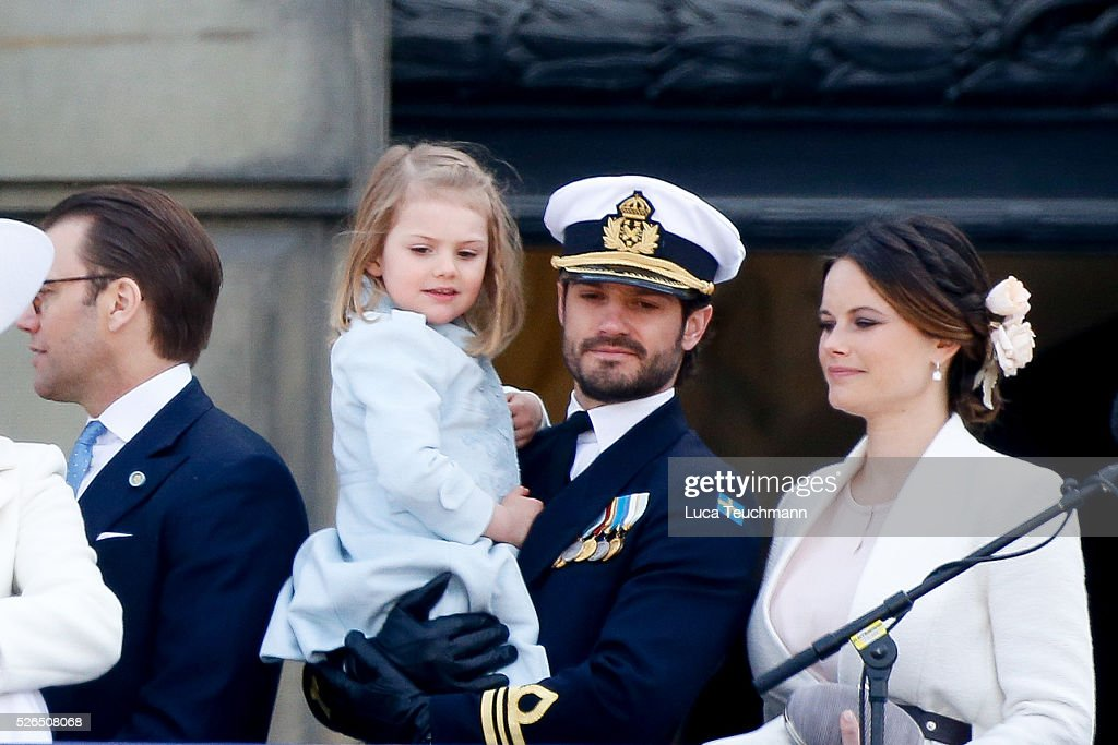 Princess Sofia of Sweden, Princess Estelle of Sweden and Prince Carl Philip of Sweden attend the choral tribute and cortege during the celebrations of the 70th birthday of King Carl Gustaf of Sweden on April 30, 2016 in Stockholm, Sweden.