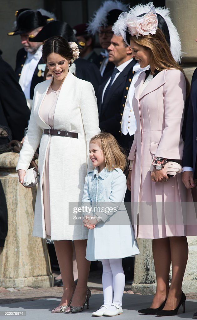 Princess Sofia of Sweden, Princess Estelle of Sweden and Princess Madeleine of Sweden attend the celebrations of the Swedish Armed Forces for the 70th birthday of King Carl Gustaf of Sweden on April 30, 2016 in Stockholm, Sweden.