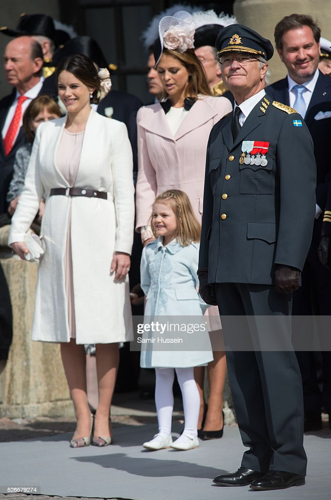 Princess Sofia of Sweden, Princess Estelle of Sweden, Princess Madeleine of Sweden and King Carl Gustaf of Sweden attend the celebrations of the Swedish Armed Forces for the 70th birthday of King Carl Gustaf of Sweden on April 30, 2016 in Stockholm, Sweden.