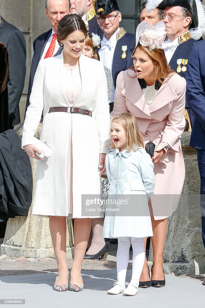 Princess Sofia of Sweden; Princess Madeleine of Sweden and Princess Estelle of Sweden are seen at the celebrations of the Swedish Armed Forces for the 70th birthday of King Carl Gustaf of Sweden on April 30, 2016 in Stockholm, .