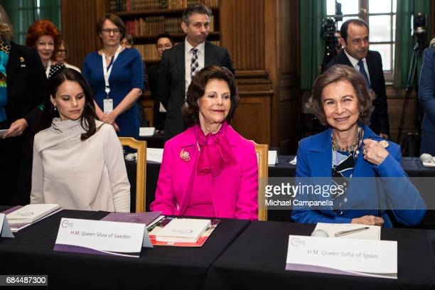 Princess Sofia of Sweden Queen Sofia of Spain and Queen Silvia of Sweden attend a Dementia Forum at the Stockholm royal palace on May 18 2017 in...