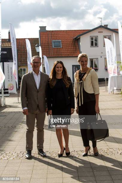 Princess Sofia of Sweden together with Bo Nielsson and Susanne Johansson arrive to the Granslosa Moten's Sustainability and future seminar 'A...