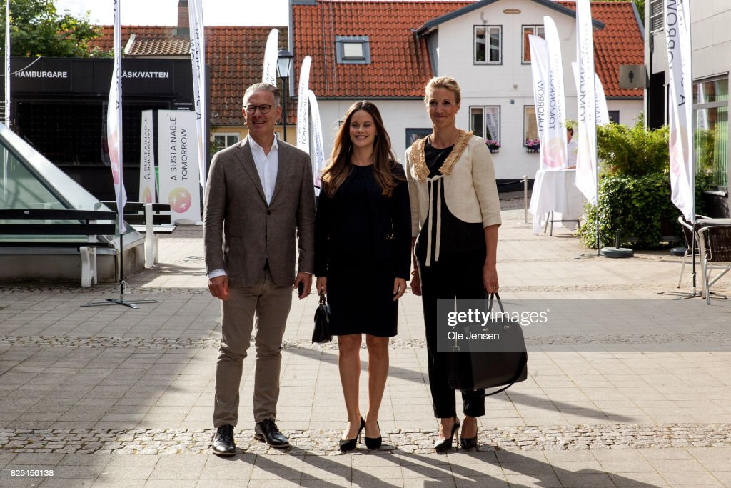 Princess Sofia of Sweden (C) together with Bo Nielsson and Susanne Johansson arrive to the Granslosa Moten's Sustainability and future seminar, 'A Sustainable Tomorrow' on August 2, 2017 in Bastad, Sweden.