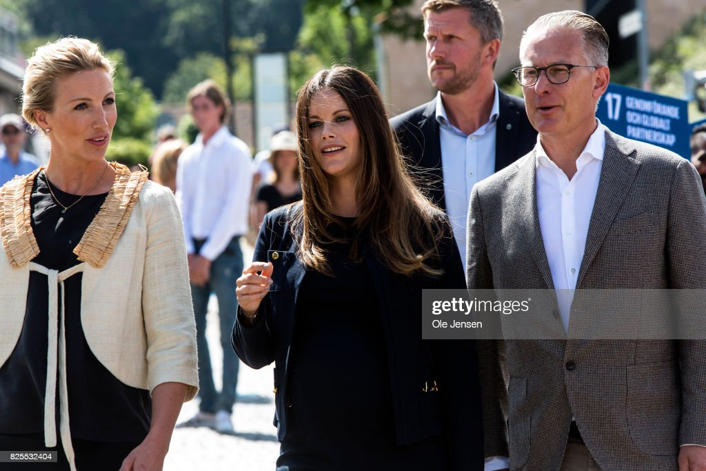 Princess Sofia of Sweden (C) together with Bo Nilsson and Susanne Johansen, Secretary General for 'A Sustainable Tomorrow' during their participation in the the Granslosa Moten's Sustainability and Future Seminar, 'A Sustainable Tomorrow' on August 2, 2017 in Bastad, Sweden.