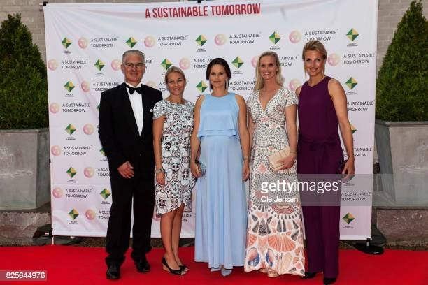Princess Sofia of Sweden together with Bo Nilsson and Susanne Johansen Secretary General for 'A Sustainable Tomorrow' and spouses pose during arrival...
