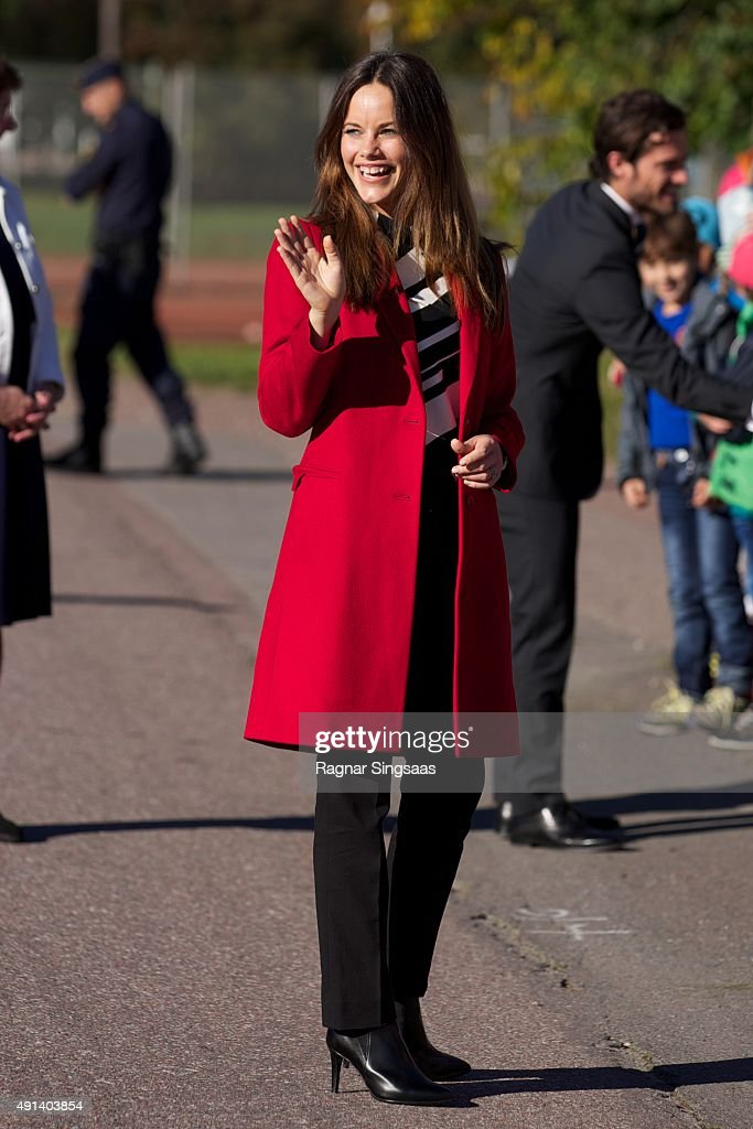 Princess Sofia of Sweden visits the company Dalform AB during the first day of a two day trip to Dalarna on October 5, 2015 in Sater, Sweden.