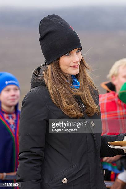 Princess Sofia of Sweden visits the Idre Sami Village during the second day of a two day trip to Dalarna on October 6 2015 in Grovelsjoen Sweden