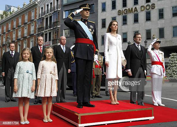 Princess Sofia Princess Leonor Princess of Asturias King Felipe VI of Spain Queen Letizia of Spain Prime Minister Mariano Rajoy and General Admiral...