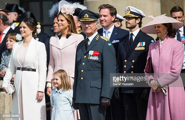 R Princess Sofia Princess Madeleine of Sweden Princess Estelle of Sweden King Carl Gustaf Christopher O'Neill Prince Carl Philip of Sweden and Queen...