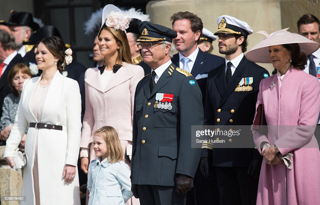 L-R) Princess Sofia, Princess Madeleine of Sweden, Princess Estelle of Sweden, King Carl Gustaf, <a gi-track='captionPersonalityLinkClicked' href=/galleries/search?phrase=Christopher+O%27Neill&family=editorial&specificpeople=7470611 ng-click='$event.stopPropagation()'>Christopher O'Neill</a>, Prince Carl Philip of Sweden and Queen Silvia of Sweden, attend the celebrations of the Swedish Armed Forces for the 70th birthday of King Carl Gustaf of Sweden on April 30, 2016 in Stockholm, Sweden.