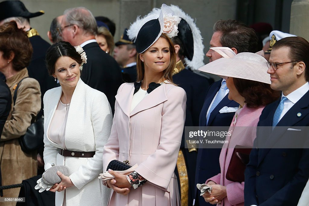 Princess Sofia, Princess Madeleine of Sweden, Queen Silvia of Sweden and Prince Daniel of Sweden are seen at the celebrations of the Swedish Armed Forces for the 70th birthday of King Carl Gustaf of Sweden on April 30, 2016 in Stockholm, Sweden.