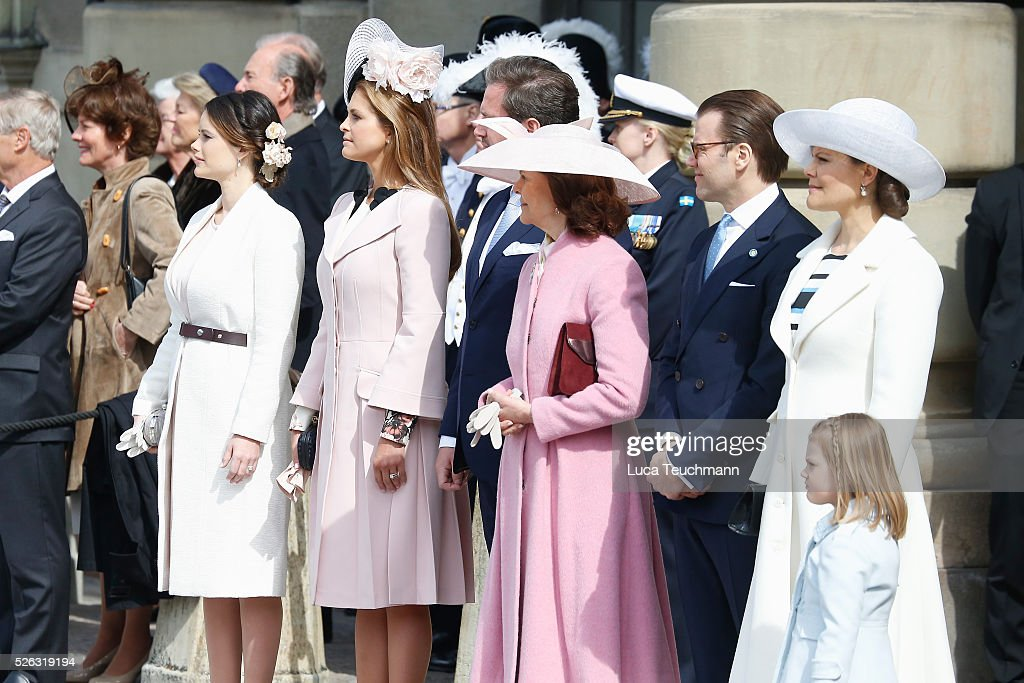 Princess Sofia, Princess Madeleine of Sweden,Christopher O'Neill, Queen Silvia of Sweden, Prince Daniel of Sweden, Crown Princess Victoria of Sweden and Princess Estelle of Sweden are seen at the celebrations of the Swedish Armed Forces for the 70th birthday of King Carl Gustaf of Sweden on April 30, 2016 in Stockholm, Sweden.