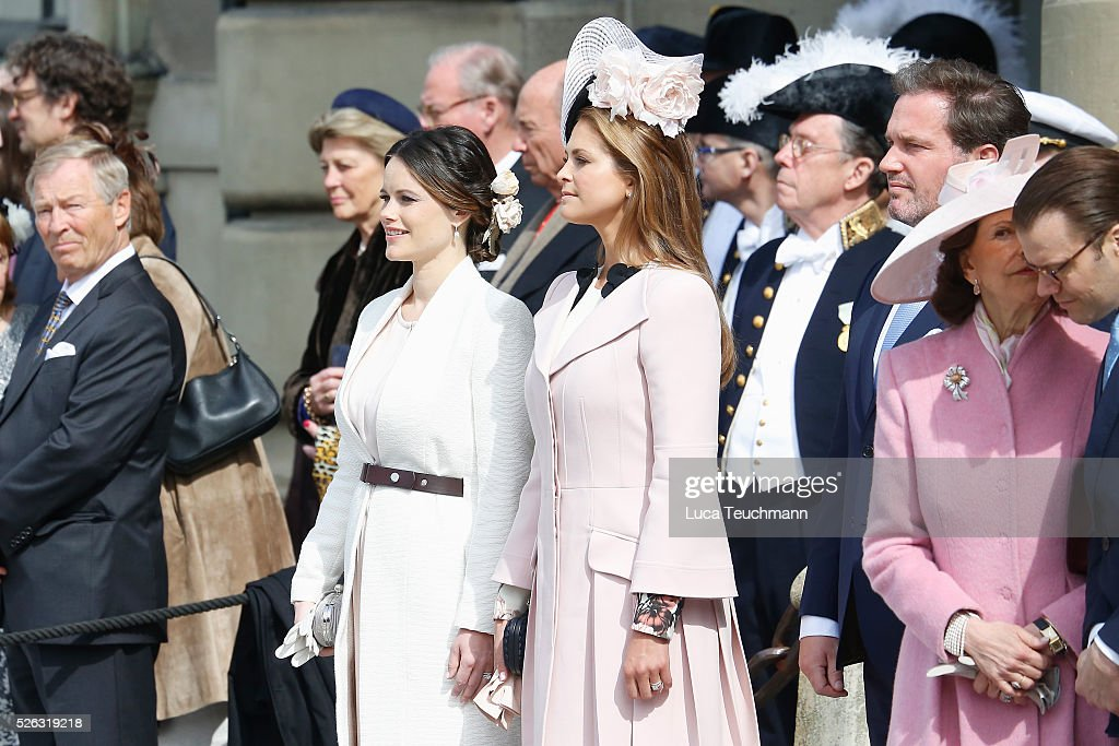 Princess Sofia, Princess Madeleine of Sweden,<a gi-track='captionPersonalityLinkClicked' href=/galleries/search?phrase=Christopher+O%27Neill&family=editorial&specificpeople=7470611 ng-click='$event.stopPropagation()'>Christopher O'Neill</a>, Queen Silvia of Sweden and Prince Daniel of Sweden are seen at the celebrations of the Swedish Armed Forces for the 70th birthday of King Carl Gustaf of Sweden on April 30, 2016 in Stockholm, Sweden.