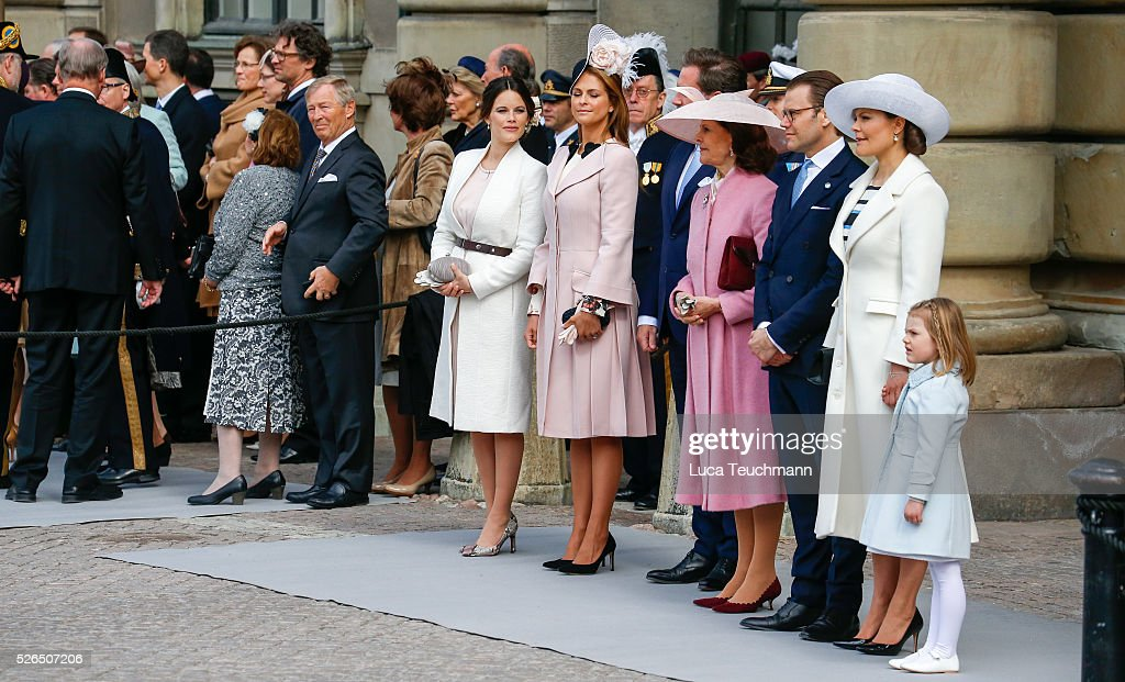 Princess Sofia, Princess Madeleine of Sweden,Christopher O'Neill, Queen Silvia of Sweden, Prince Daniel of Sweden, Crown Princess Victoria of Sweden and Princess Estelle of Sweden are seen at the celebrations of the Swedish Armed Forces for the 70th birthday of King Carl Gustaf of Sweden on April 30, 2016 in Stockholm, .