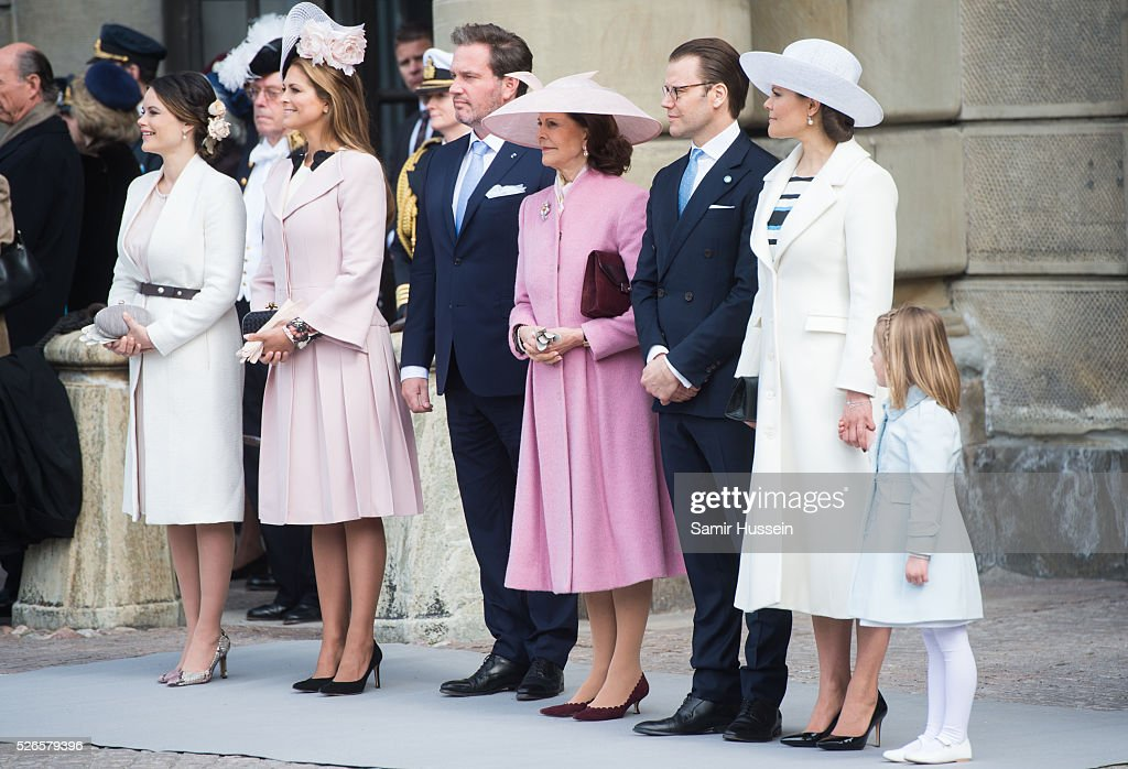 L-R) Princess Sofia, Princess Madeleine of Sweden,Christopher O'Neill, Queen Silvia of Sweden, Prince Daniel of Sweden, Crown Princess Victoria of Sweden and Princess Estelle of Sweden attend the celebrations of the Swedish Armed Forces for the 70th birthday of King Carl Gustaf of Sweden on April 30, 2016 in Stockholm, Sweden.