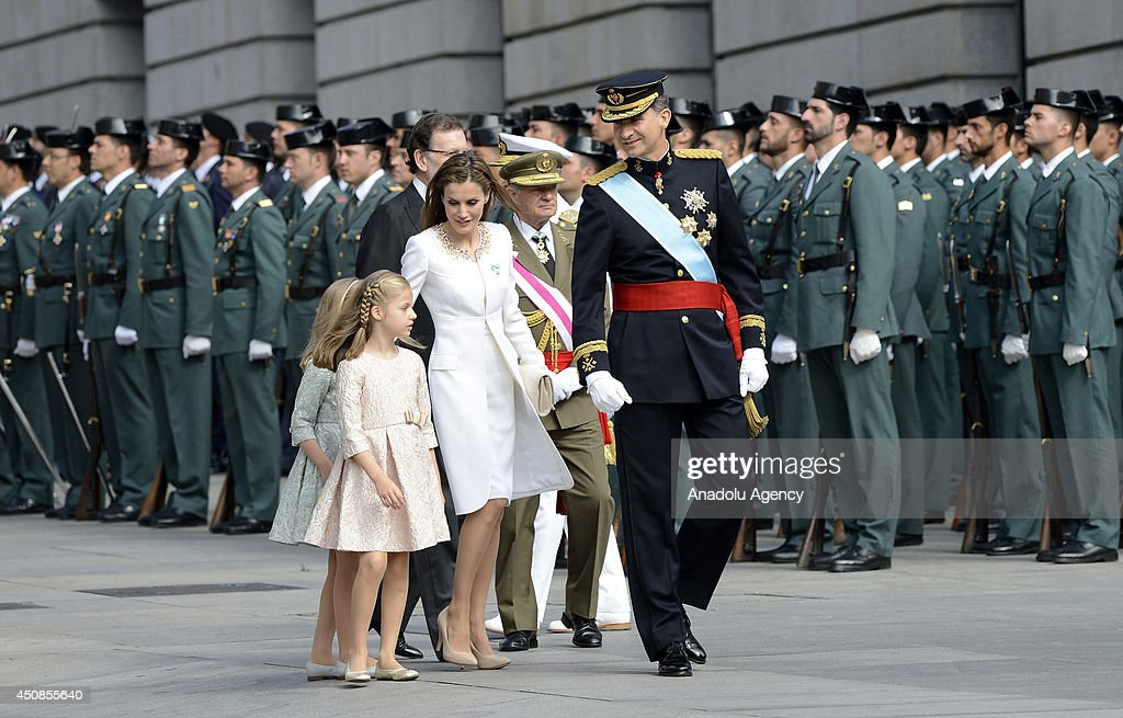 Princess Sofia Queen Letizia of Spain Spain's Prime Minister Mariano Rajoy and new king Felipe VI arrive to parliament during the swearingin ceremony...